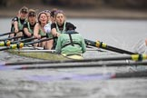The Boat Race season 2017 - Women's Boat Race Fixture CUWBC vs Univerity of London: The CUWBC boat has taken the lead by at least one length. River Thames between Putney Bridge and Mortlake, London SW15,  United Kingdom, on 19 February 2017 at 16:04, image #77