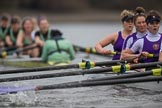 The Boat Race season 2017 - Women's Boat Race Fixture CUWBC vs Univerity of London: The CUWBC boat has taken the lead by at least one length. River Thames between Putney Bridge and Mortlake, London SW15,  United Kingdom, on 19 February 2017 at 16:04, image #78