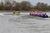The Boat Race season 2017 - Women's Boat Race Fixture CUWBC vs Univerity of London: The CUWBC boat has taken the lead by at least one length near the milepost. River Thames between Putney Bridge and Mortlake, London SW15,  United Kingdom, on 19 February 2017 at 16:04, image #79