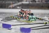 The Boat Race season 2017 - Women's Boat Race Fixture CUWBC vs Univerity of London: CUWBC ahead of UL BC by at least ome length between the Milepost and Hammersmith Bridge. River Thames between Putney Bridge and Mortlake, London SW15,  United Kingdom, on 19 February 2017 at 16:05, image #86