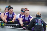 The Boat Race season 2017 - Women's Boat Race Fixture CUWBC vs Univerity of London: The UL eigth, cox - Lauren Holland, stroke - Robyn Hart-Winks, 7 - Ally French, 6 - Georgia Stratham, 5 - Charlotte Hodgkins-Byrne, 4 - Sara Parfett, 3 - Fionnuala Gannon, 2 - Catherine Ador, bow - Emily Wilks. River Thames between Putney Bridge and Mortlake, London SW15,  United Kingdom, on 19 February 2017 at 16:05, image #87
