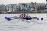 The Boat Race season 2017 - Women's Boat Race Fixture CUWBC vs Univerity of London: CUWBC ahead of UL BC by at least ome length between the Milepost and Hammersmith Bridge. River Thames between Putney Bridge and Mortlake, London SW15,  United Kingdom, on 19 February 2017 at 16:06, image #89