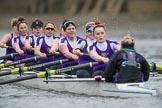 The Boat Race season 2017 - Women's Boat Race Fixture CUWBC vs Univerity of London: The UL eigth, cox - Lauren Holland, stroke - Robyn Hart-Winks, 7 - Ally French, 6 - Georgia Stratham, 5 - Charlotte Hodgkins-Byrne, 4 - Sara Parfett, 3 - Fionnuala Gannon, 2 - Catherine Ador, bow - Emily Wilks. River Thames between Putney Bridge and Mortlake, London SW15,  United Kingdom, on 19 February 2017 at 16:08, image #93