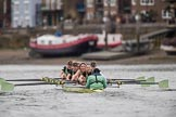 The Boat Race season 2017 - Women's Boat Race Fixture CUWBC vs Univerity of London: The CUWBC eight leading by more than one length on the approach to Hammersmith Bridge - cox - Matthew Holland, stroke - Alice White, 7 - Myriam Goudet, 6 - Melissa Wilson, 5 - Holy Hill, 4 - Imogen Grant, 3 - Ashton Brown, 2 - Kirsten Van Fosen, bow - Claire Lambe. River Thames between Putney Bridge and Mortlake, London SW15,  United Kingdom, on 19 February 2017 at 16:08, image #94