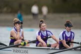 The Boat Race season 2017 - Women's Boat Race Fixture CUWBC vs Univerity of London: The UL boat, here bow - Emily Wilks, 2 - Catherine Ador, 3 - Fionnuala Gannon. River Thames between Putney Bridge and Mortlake, London SW15,  United Kingdom, on 19 February 2017 at 16:14, image #100