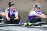 The Boat Race season 2017 - Women's Boat Race Fixture CUWBC vs Univerity of London: The UL boat, here 6 - Georgia Stratham, 7 - Ally French. River Thames between Putney Bridge and Mortlake, London SW15,  United Kingdom, on 19 February 2017 at 16:21, image #121