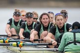 The Boat Race season 2017 - Women's Boat Race Fixture CUWBC vs Univerity of London: The CUWBC after the start of the second piece of the fixture, bow - Claire Lambe, 2 - Kirsten Van Fosen, 3 - Ashton Brown, 4 - Imogen Grant, 5 - Holy Hill, 6 - Melissa Wilson, 7 - Myriam Goudet, stroke - Alice White, cox - Matthew Holland. River Thames between Putney Bridge and Mortlake, London SW15,  United Kingdom, on 19 February 2017 at 16:22, image #123