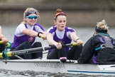 The Boat Race season 2017 - Women's Boat Race Fixture CUWBC vs Univerity of London: The UL eight, here 7 - Ally French, stroke - Robyn Hart-Winks, cox - Lauren Holland. River Thames between Putney Bridge and Mortlake, London SW15,  United Kingdom, on 19 February 2017 at 16:22, image #124