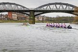 The Boat Race season 2017 - Women's Boat Race Fixture CUWBC vs Univerity of London: CUWBC is leading by over a length on the approach to Barnes Bridge during the 2nd piece of the fixture. River Thames between Putney Bridge and Mortlake, London SW15,  United Kingdom, on 19 February 2017 at 16:24, image #128
