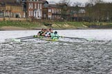 The Boat Race season 2017 - Women's Boat Race Fixture CUWBC vs Univerity of London: The CUWBC eight, leading by well over a length after Barnes Bridge during the 2nd piece of the fixture. River Thames between Putney Bridge and Mortlake, London SW15,  United Kingdom, on 19 February 2017 at 16:24, image #130