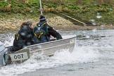 The Boat Race season 2017 - Women's Boat Race Fixture CUWBC vs Univerity of London: CUWBC coach Rob Baker in the tin boat following the CUWBC eight towards the finish at Chuswick Bridge. River Thames between Putney Bridge and Mortlake, London SW15,  United Kingdom, on 19 February 2017 at 16:25, image #131