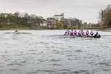 The Boat Race season 2017 - Women's Boat Race Fixture CUWBC vs Univerity of London: The CUWBC eight, leading by well over a length after Barnes Bridge during the 2nd piece of the fixture. River Thames between Putney Bridge and Mortlake, London SW15,  United Kingdom, on 19 February 2017 at 16:25, image #132