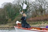 The Boat Race season 2017 - Women's Boat Race Fixture CUWBC vs Univerity of London: Race umpire Sarah Winckless in the umpire's launch. River Thames between Putney Bridge and Mortlake, London SW15,  United Kingdom, on 19 February 2017 at 16:25, image #133