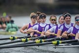 The Boat Race season 2017 - Women's Boat Race Fixture CUWBC vs Univerity of London: The UL eight behind the CUWBC boat, bow - Emily Wilks, 2 - Catherine Ador, 3 - Fionnuala Gannon, 4 - Sara Parfett, 5 - Charlotte Hodgkins-Byrne, 6 - Georgia Stratham, 7 - Ally French, stroke - Robyn Hart-Winks, cox - Lauren Holland. River Thames between Putney Bridge and Mortlake, London SW15,  United Kingdom, on 19 February 2017 at 16:27, image #142