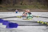 The Boat Race season 2017 - Women's Boat Race Fixture CUWBC vs Univerity of London: The CUWBC eight in the lead on the apporach to the finish, bow - Claire Lambe, 2 - Kirsten Van Fosen, 3 - Ashton Brown, 4 - Imogen Grant, 5 - Holy Hill, 6 - Melissa Wilson, 7 - Myriam Goudet, stroke - Alice White, cox - Matthew Holland. River Thames between Putney Bridge and Mortlake, London SW15,  United Kingdom, on 19 February 2017 at 16:28, image #145