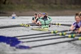 The Boat Race season 2017 - Women's Boat Race Fixture CUWBC vs Univerity of London: The CUWBC eight after crossing the finish line at Chiswick Bridge, bow - Claire Lambe, 2 - Kirsten Van Fosen, 3 - Ashton Brown, 4 - Imogen Grant, 5 - Holy Hill, 6 - Melissa Wilson, 7 - Myriam Goudet, stroke - Alice White, cox - Matthew Holland. River Thames between Putney Bridge and Mortlake, London SW15,  United Kingdom, on 19 February 2017 at 16:28, image #146