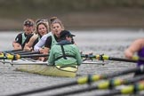 The Boat Race season 2017 - Women's Boat Race Fixture CUWBC vs Univerity of London: The CUWBC eight after crossing the finish line at Chiswick Bridge, bow - Claire Lambe, 2 - Kirsten Van Fosen, 3 - Ashton Brown, 4 - Imogen Grant, 5 - Holy Hill, 6 - Melissa Wilson, 7 - Myriam Goudet, stroke - Alice White, cox - Matthew Holland. River Thames between Putney Bridge and Mortlake, London SW15,  United Kingdom, on 19 February 2017 at 16:28, image #147