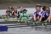 The Boat Race season 2017 - Women's Boat Race Fixture CUWBC vs Univerity of London: The CUWBC eight after crossing the finish line at Chiswick Bridge, bow - Claire Lambe, 2 - Kirsten Van Fosen, 3 - Ashton Brown, 4 - Imogen Grant, 5 - Holy Hill, 6 - Melissa Wilson, 7 - Myriam Goudet, stroke - Alice White, cox - Matthew Holland. River Thames between Putney Bridge and Mortlake, London SW15,  United Kingdom, on 19 February 2017 at 16:28, image #148