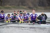 The Boat Race season 2017 - Women's Boat Race Fixture CUWBC vs Univerity of London: The UL eight seen in front of the CUWBC boat after crossing the finish line, with the focus on Cambridge: bow - Claire Lambe, 2 - Kirsten Van Fosen, 3 - Ashton Brown, 4 - Imogen Grant, 5 - Holy Hill, 6 - Melissa Wilson, 7 - Myriam Goudet, stroke - Alice White, cox - Matthew Holland. River Thames between Putney Bridge and Mortlake, London SW15,  United Kingdom, on 19 February 2017 at 16:29, image #150