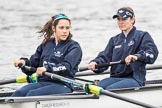 The Cancer Research UK Boat Race season 2017 - Women's Boat Race Fixture OUWBC vs Molesey BC: The OUWBC boat, here 5 seat Chloe Laverack and 4 seat Rebecca Esselstein. River Thames between Putney Bridge and Mortlake, London SW15,  United Kingdom, on 19 March 2017 at 15:21, image #17