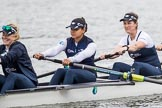 The Cancer Research UK Boat Race season 2017 - Women's Boat Race Fixture OUWBC vs Molesey BC: The OUWBC boat, here stroke Emily Cameron, 7 seat Jenna Hebert and 6 seat  Harriet Austin. River Thames between Putney Bridge and Mortlake, London SW15,  United Kingdom, on 19 March 2017 at 15:21, image #18