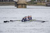 The Cancer Research UK Boat Race season 2017 - Women's Boat Race Fixture OUWBC vs Molesey BC: OUWBC on the way to Putney Bridge before the start of the fixture. River Thames between Putney Bridge and Mortlake, London SW15,  United Kingdom, on 19 March 2017 at 15:22, image #21