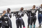 The Cancer Research UK Boat Race season 2017 - Women's Boat Race Fixture OUWBC vs Molesey BC: The Molesey ladies carrying their boat from the boathouse to the river, in front cox Anna Corderoy. River Thames between Putney Bridge and Mortlake, London SW15,  United Kingdom, on 19 March 2017 at 15:24, image #22