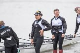 The Cancer Research UK Boat Race season 2017 - Women's Boat Race Fixture OUWBC vs Molesey BC: Molesey getting their boat ready - cox Anna Corderoy, 7 seat Gabriella Rodriguez, and 5 seat Katie Bartlett. River Thames between Putney Bridge and Mortlake, London SW15,  United Kingdom, on 19 March 2017 at 15:25, image #25