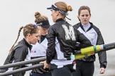 The Cancer Research UK Boat Race season 2017 - Women's Boat Race Fixture OUWBC vs Molesey BC: Molesey getting their boat ready. River Thames between Putney Bridge and Mortlake, London SW15,  United Kingdom, on 19 March 2017 at 15:25, image #26