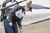 The Cancer Research UK Boat Race season 2017 - Women's Boat Race Fixture OUWBC vs Molesey BC: Molesey getting their boat ready, here 5 seat Katie Bartlett (I guess)?. River Thames between Putney Bridge and Mortlake, London SW15,  United Kingdom, on 19 March 2017 at 15:25, image #27
