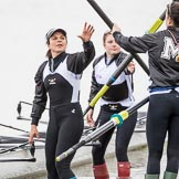 The Cancer Research UK Boat Race season 2017 - Women's Boat Race Fixture OUWBC vs Molesey BC: Molesey getting their boat ready, here 7 Gabriella Rodriguez and 5 seat Katie Bartlett. River Thames between Putney Bridge and Mortlake, London SW15,  United Kingdom, on 19 March 2017 at 15:25, image #28