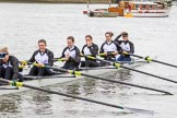The Cancer Research UK Boat Race season 2017 - Women's Boat Race Fixture OUWBC vs Molesey BC: The Molesey boat - 6 Elo Luik, 5 Katie Bartlett, 4 Claire McKeown, 3 Lucy Primmer, 2 Caitlin Boyland, bow Emma McDonald. River Thames between Putney Bridge and Mortlake, London SW15,  United Kingdom, on 19 March 2017 at 15:28, image #30