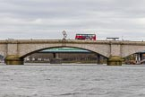 The Cancer Research UK Boat Race season 2017 - Women's Boat Race Fixture OUWBC vs Molesey BC: Putney Bridge on an overcast day, with a red London bus. River Thames between Putney Bridge and Mortlake, London SW15,  United Kingdom, on 19 March 2017 at 15:36, image #32