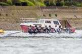 The Cancer Research UK Boat Race season 2017 - Women's Boat Race Fixture OUWBC vs Molesey BC: The Molesey boat south of Putney Bridge before the start of the fixture. River Thames between Putney Bridge and Mortlake, London SW15,  United Kingdom, on 19 March 2017 at 15:40, image #33