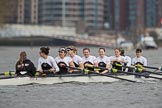 The Cancer Research UK Boat Race season 2017 - Women's Boat Race Fixture OUWBC vs Molesey BC: The Molesey boat - cox Anna Corderoy, S Ruth Whyman, 7 Gabriella Rodriguez, 6 Elo Luik, 5 Katie Bartlett, 4 Claire McKeown, 3 Lucy Primmer, 2 Caitlin Boyland, B Emma McDonald. River Thames between Putney Bridge and Mortlake, London SW15,  United Kingdom, on 19 March 2017 at 15:51, image #35