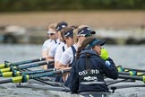 The Cancer Research UK Boat Race season 2017 - Women's Boat Race Fixture OUWBC vs Molesey BC: The OUWBC boat before the start of the race - bow Alice Roberts, 2 Beth Bridgman, 3 Rebecca Te Water Naude, 4 Rebecca Esselstein, 5 Chloe Laverack, 6 Harriet Austin, 7 Jenna Hebert, stroke Emily Cameron, cox Eleanor Shearer. River Thames between Putney Bridge and Mortlake, London SW15,  United Kingdom, on 19 March 2017 at 15:55, image #38