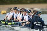 The Cancer Research UK Boat Race season 2017 - Women's Boat Race Fixture OUWBC vs Molesey BC: The OUWBC boat before the start of the race - bow Alice Roberts, 2 Beth Bridgman, 3 Rebecca Te Water Naude, 4 Rebecca Esselstein, 5 Chloe Laverack, 6 Harriet Austin, 7 Jenna Hebert, stroke Emily Cameron, cox Eleanor Shearer. River Thames between Putney Bridge and Mortlake, London SW15,  United Kingdom, on 19 March 2017 at 15:55, image #39