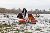 The Cancer Research UK Boat Race season 2017 - Women's Boat Race Fixture OUWBC vs Molesey BC: Moments before the start of the fixture, with OUWBC on the Surrey- and Molesey on the Middlesex side in front of the umpire's launch. River Thames between Putney Bridge and Mortlake, London SW15,  United Kingdom, on 19 March 2017 at 15:58, image #40