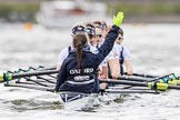 The Cancer Research UK Boat Race season 2017 - Women's Boat Race Fixture OUWBC vs Molesey BC: OUWBC getting ready for the start of the fixture. River Thames between Putney Bridge and Mortlake, London SW15,  United Kingdom, on 19 March 2017 at 15:59, image #41