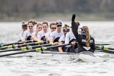 The Cancer Research UK Boat Race season 2017 - Women's Boat Race Fixture OUWBC vs Molesey BC: Molesey getting ready for the start of the fixture - bow Emma McDonald, 2 Caitlin Boyland, 3 Lucy Primmer, 4 Claire McKeown, 5 Katie Bartlett, 6 Elo Luik, 7 Gabriella Rodriguez, stroke Ruth Whyman, cox Anna Corderoy. River Thames between Putney Bridge and Mortlake, London SW15,  United Kingdom, on 19 March 2017 at 15:59, image #42