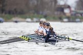 The Cancer Research UK Boat Race season 2017 - Women's Boat Race Fixture OUWBC vs Molesey BC: OUWBC at the start of the race - bow Alice Roberts, 2 Beth Bridgman, 3 Rebecca Te Water Naude, 4 Rebecca Esselstein, 5 Chloe Laverack, 6 Harriet Austin, 7 Jenna Hebert, stroke Emily Cameron, cox Eleanor Shearer. River Thames between Putney Bridge and Mortlake, London SW15,  United Kingdom, on 19 March 2017 at 16:00, image #43