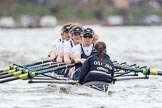 The Cancer Research UK Boat Race season 2017 - Women's Boat Race Fixture OUWBC vs Molesey BC: OUWBC at the start of the race - bow Alice Roberts, 2 Beth Bridgman, 3 Rebecca Te Water Naude, 4 Rebecca Esselstein, 5 Chloe Laverack, 6 Harriet Austin, 7 Jenna Hebert, stroke Emily Cameron, cox Eleanor Shearer. River Thames between Putney Bridge and Mortlake, London SW15,  United Kingdom, on 19 March 2017 at 16:00, image #44