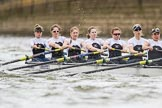 The Cancer Research UK Boat Race season 2017 - Women's Boat Race Fixture OUWBC vs Molesey BC: Molesey at the start of the race - bow Emma McDonald, 2 Caitlin Boyland, 3 Lucy Primmer, 4 Claire McKeown, 5 Katie Bartlett, 6 Elo Luik, 7 Gabriella Rodriguez,  stroke Ruth Whyman, cox Anna Corderoy. River Thames between Putney Bridge and Mortlake, London SW15,  United Kingdom, on 19 March 2017 at 16:00, image #45