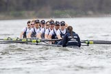 The Cancer Research UK Boat Race season 2017 - Women's Boat Race Fixture OUWBC vs Molesey BC: OUWBC at the start of the race - bow Alice Roberts, 2 Beth Bridgman, 3 Rebecca Te Water Naude, 4 Rebecca Esselstein, 5 Chloe Laverack, 6 Harriet Austin, 7 Jenna Hebert, stroke Emily Cameron, cox Eleanor Shearer. River Thames between Putney Bridge and Mortlake, London SW15,  United Kingdom, on 19 March 2017 at 16:00, image #46
