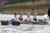 The Cancer Research UK Boat Race season 2017 - Women's Boat Race Fixture OUWBC vs Molesey BC: Molesey at the start of the race - bow Emma McDonald, 2 Caitlin Boyland, 3 Lucy Primmer, 4 Claire McKeown, 5 Katie Bartlett, 6 Elo Luik, 7 Gabriella Rodriguez, stroke Ruth Whyman, cox Anna Corderoy. River Thames between Putney Bridge and Mortlake, London SW15,  United Kingdom, on 19 March 2017 at 16:00, image #48