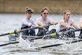 The Cancer Research UK Boat Race season 2017 - Women's Boat Race Fixture OUWBC vs Molesey BC: Molesey at the start of the race, here bow Emma McDonald, 2 Caitlin Boyland, 3 Lucy Primmer. River Thames between Putney Bridge and Mortlake, London SW15,  United Kingdom, on 19 March 2017 at 16:01, image #51