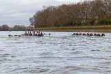 The Cancer Research UK Boat Race season 2017 - Women's Boat Race Fixture OUWBC vs Molesey BC: OUWBC in the lead at the boat houses. River Thames between Putney Bridge and Mortlake, London SW15,  United Kingdom, on 19 March 2017 at 16:01, image #52