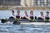 The Cancer Research UK Boat Race season 2017 - Women's Boat Race Fixture OUWBC vs Molesey BC: Molesey in the early phase of the race - bow Emma McDonald, 2 Caitlin Boyland, 3 Lucy Primmer, 4 Claire McKeown, 5 Katie Bartlett, 6 Elo Luik. River Thames between Putney Bridge and Mortlake, London SW15,  United Kingdom, on 19 March 2017 at 16:03, image #61