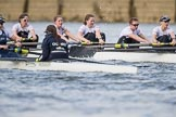 The Cancer Research UK Boat Race season 2017 - Women's Boat Race Fixture OUWBC vs Molesey BC: OUWBC with a lead of around half a length in the milepost area. River Thames between Putney Bridge and Mortlake, London SW15,  United Kingdom, on 19 March 2017 at 16:03, image #65
