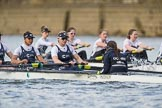 The Cancer Research UK Boat Race season 2017 - Women's Boat Race Fixture OUWBC vs Molesey BC: OUWBC with a lead of around half a length in the milepost area. River Thames between Putney Bridge and Mortlake, London SW15,  United Kingdom, on 19 March 2017 at 16:03, image #66